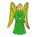 Green Angel (Hands Folded) Pin