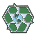 Recycle Symbol W/ World Pin